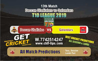 Who will win Today T10 League 2019, 13th Match Qal vs Deg, 100% Sure Prediction