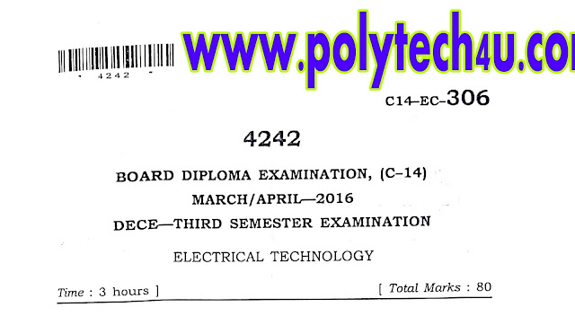 old electrical technology exam papers c-14 ece diploma