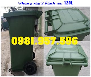 Thùng rác công cộng có bánh xe, thùng rác 2 bánh 120L
