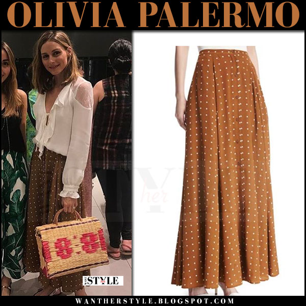 Olivia Palermo in brown polka dot print maxi skirt dvf and white blouse celebrity style what she wore july 2017