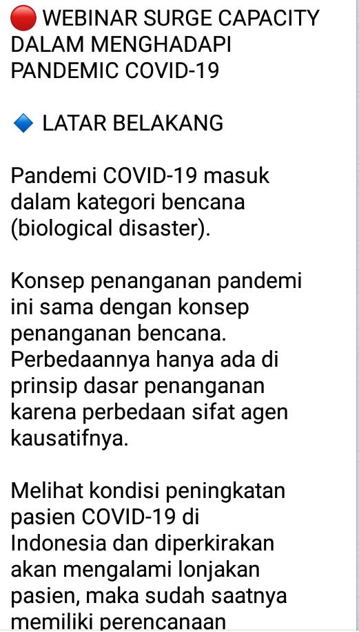 🔴 WEBINAR SURGE CAPACITY DALAM MENGHADAPI PANDEMIC COVID-19