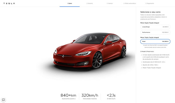 Tesla lança Model S Plaid: + 1000 cv; 0 a 100 km/h em 2,1s e 837 km de autonomia