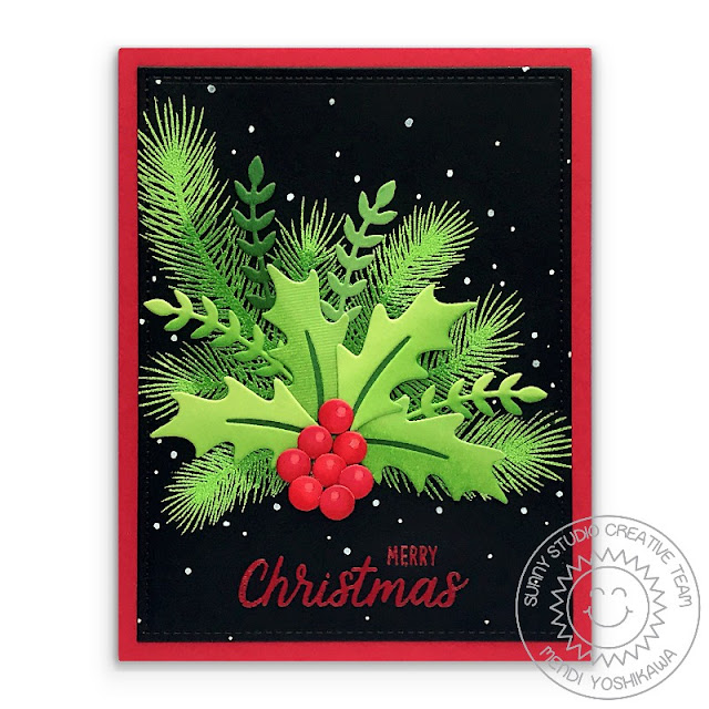 Sunny Studio Holly Card (using Winter Greenery Dies, Holiday Style, Christmas Trimmings & Classy Christmas Stamps)