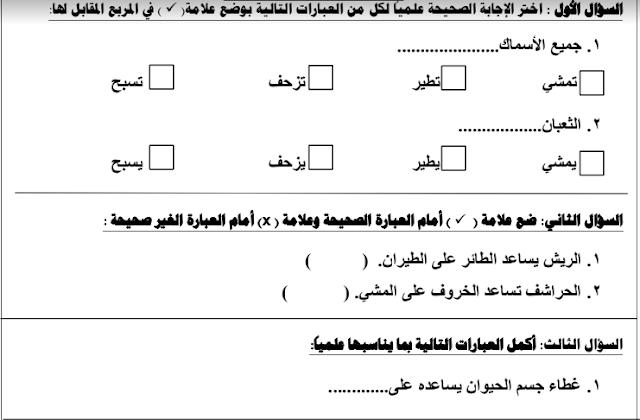 اوراق عمل علوم الصف الثاني الفصل الاول