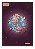 """Ilustração de um planeta redondo no espaço escuro meio avermelhado. Esse planeta é muito parecido com o planeta Terra, com algumas nuvens ao redor e também o que parecem alguns satélites. Dessa perspectiva dá para observar o continente americano, com vários pontos vermelhos distribuídos por todo o continente. Narração: """"O terceiro planeta contando a partir do sol. O nome você já sabe:"""""""