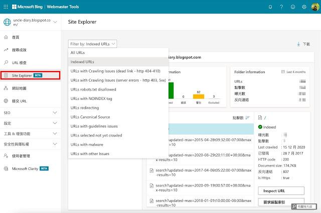 【網站 SEO】用 Webmasters Tools 提升 Yahoo、Bing 搜尋引擎中的網頁排名 (網站、部落格都適用) - 透過篩選功能,協助網站者瞭解更完整的頁面概況