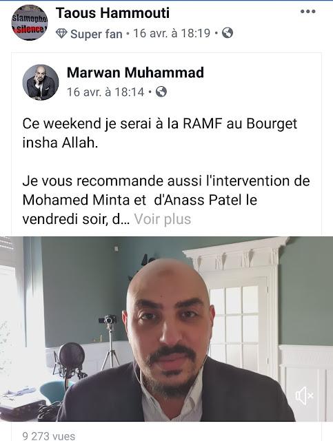Taous Hammouti aime faire la promotion de Marwan Muhammad
