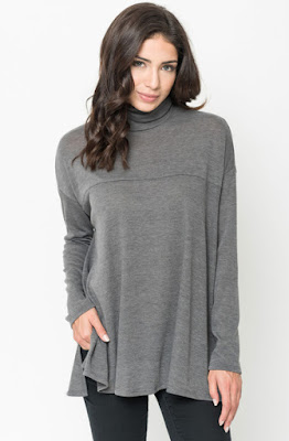 Buy Grey Funnel Neck Draped Knit Tunic Online $20 -@caralase.com