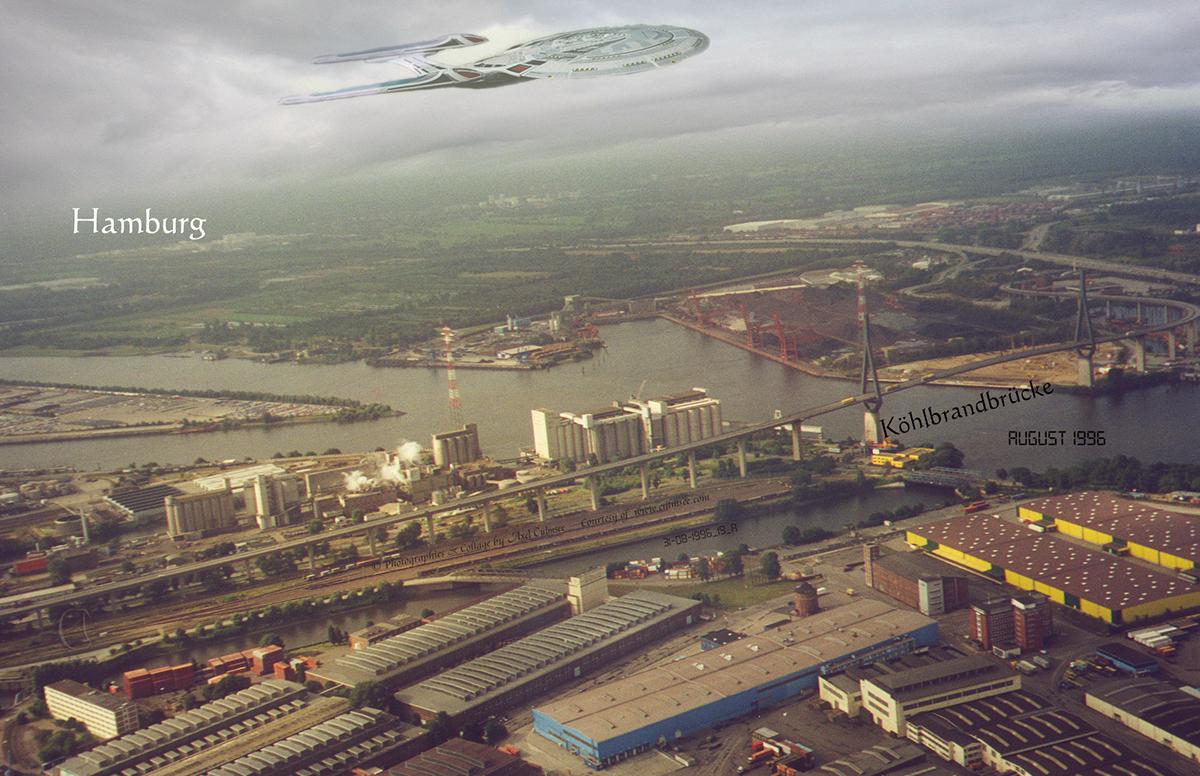 Hamburg sightseeing flight across Köhlbrand bridge (with Enterprise-E)