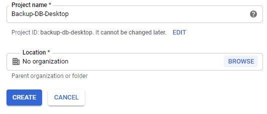 VB .NET Google Api Console Create new project