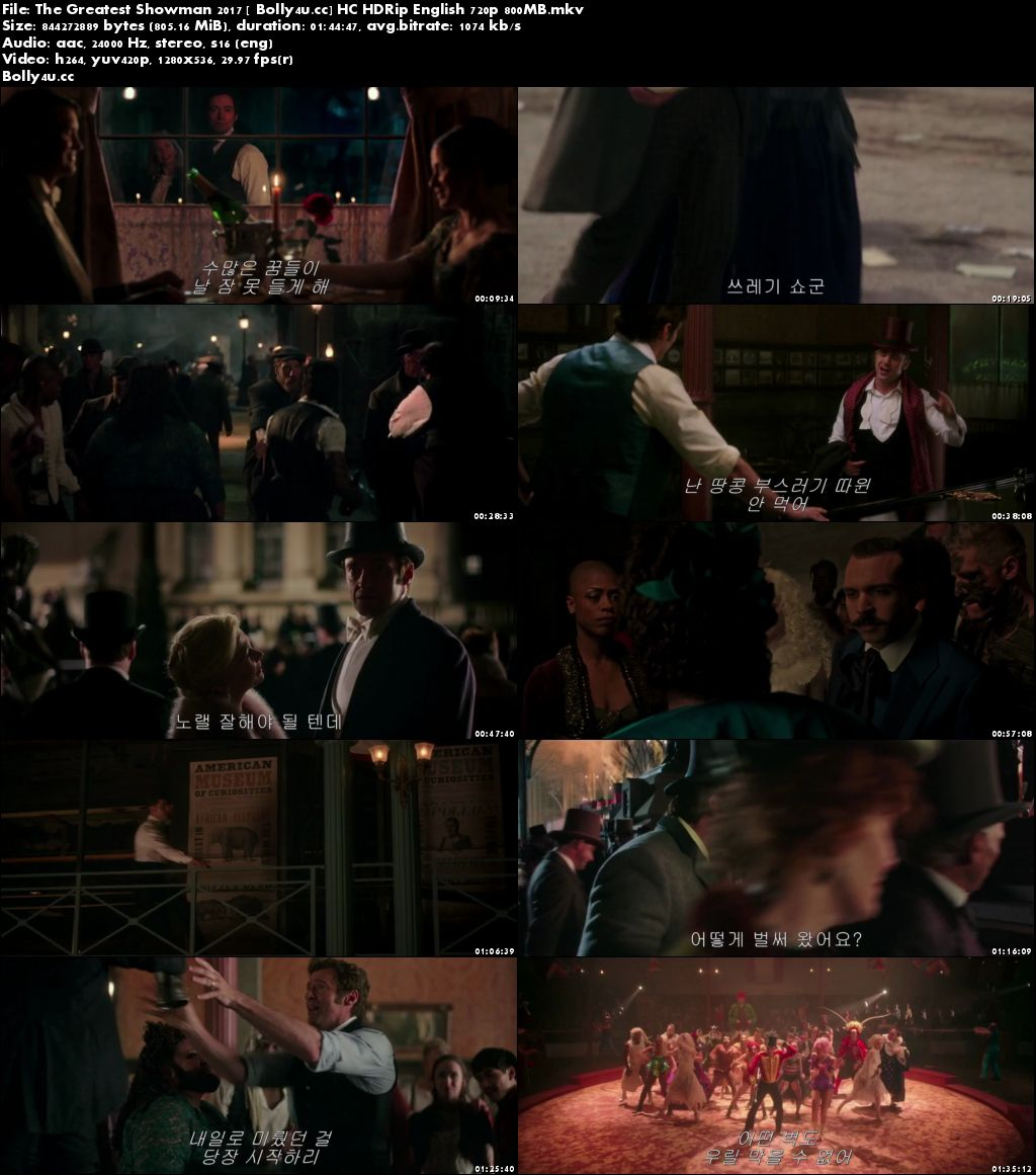 The Greatest Showman 2017 HC HDRip 800Mb English 720p Download