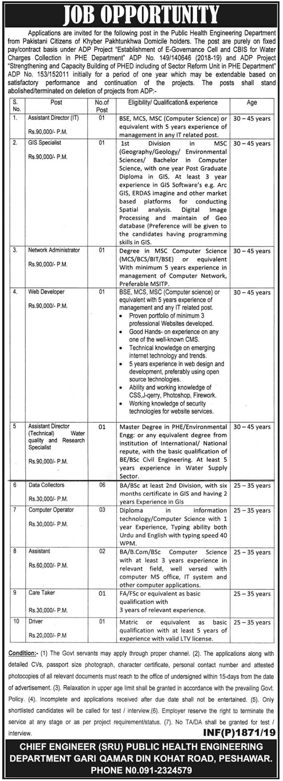 Government Jobs in Public Health Engineering Department