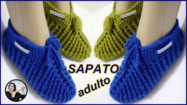 sapato sapatinho croche edinir curso pantufa chinelo chinelinho bota mocassim
