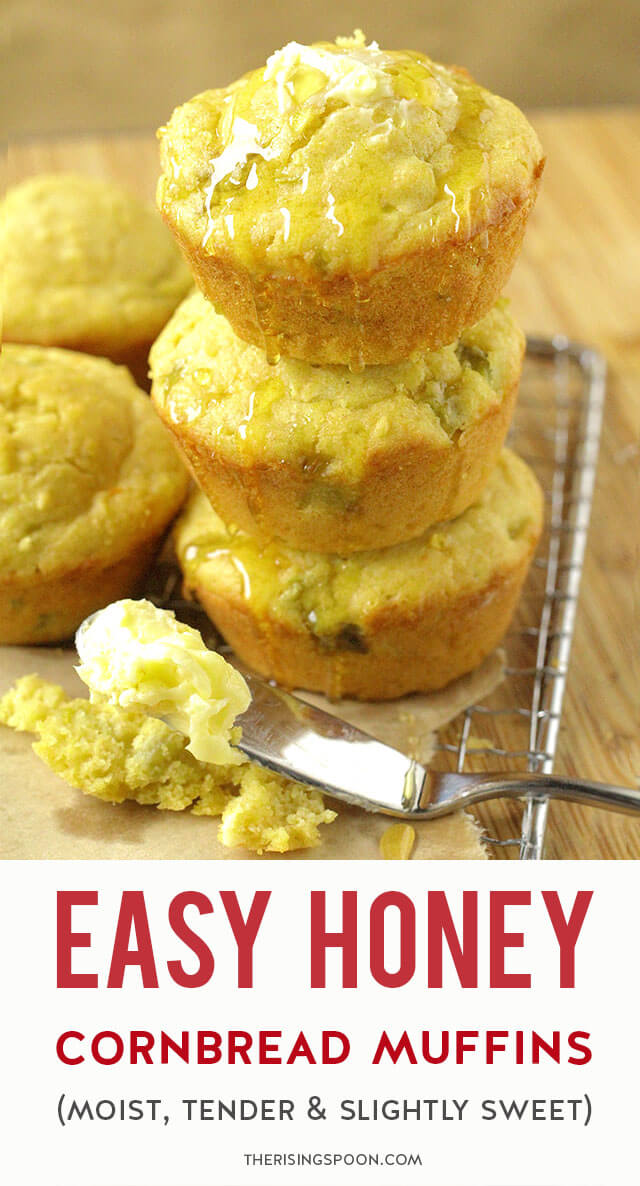 Need a quick & easy side to serve with soup, chili, or barbecue? Fix these tender & slightly sweet cornbread muffins in only 30 minutes. The combo of honey, buttermilk (or regular milk), sour cream & butter make them moist, rich, and extra comforting - the best! Use my homemade cornbread mix with flour, yellow cornmeal, baking powder & salt as the base, or grab a box of Jiffy from your pantry. This recipe yields 6 muffins; however, you can easily double it to make a dozen if you want more!