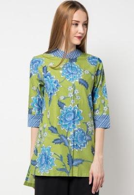 Baju batik santai model atasan modis cantik