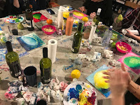 Picture of the table at boozy painting class