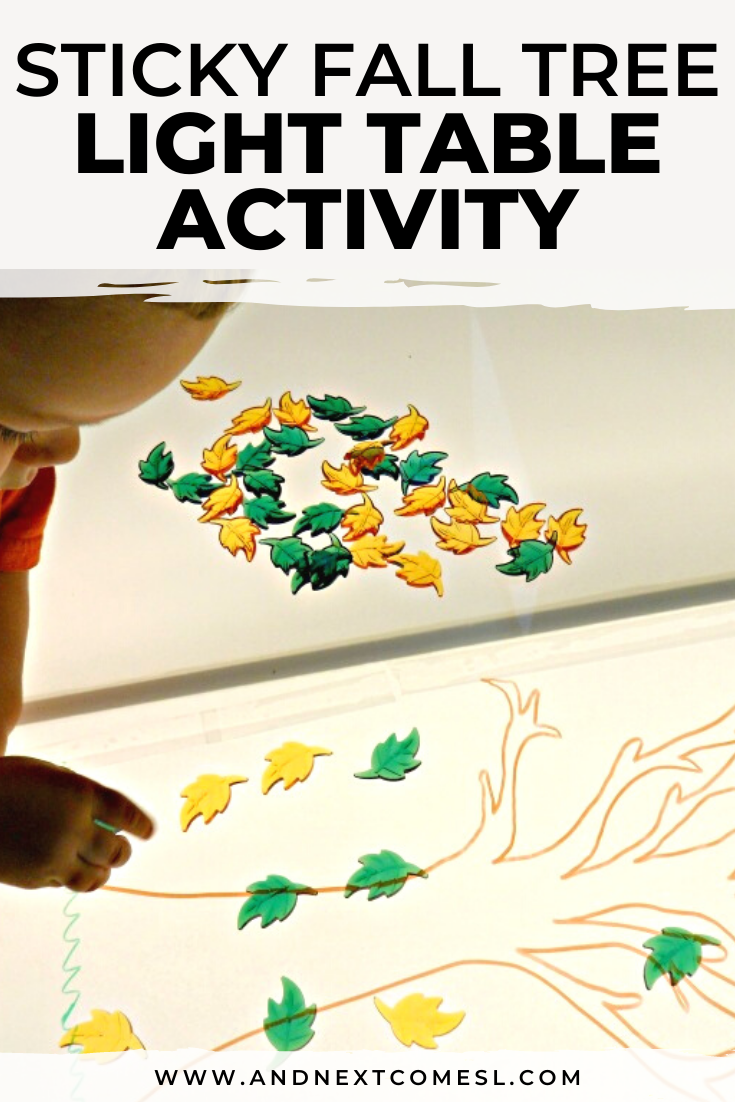 Looking for fall/autumn light table activities? Try this sticky tree and fall leaf activity on the light table!