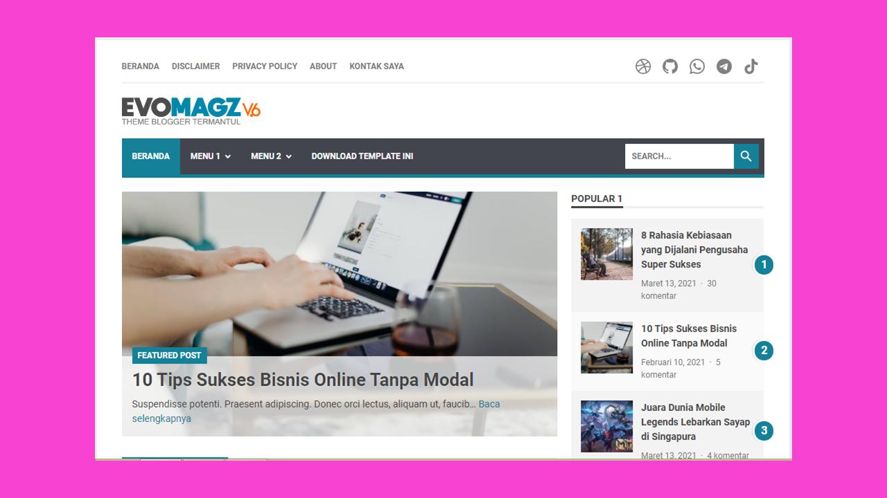 Template Evomagz Terbaru, Download, Review, Original
