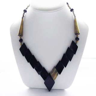 Gold and black bone necklace modern