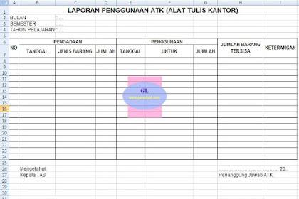 Format Laporan Penggunaan ATK (Alat Tulis Kantor)