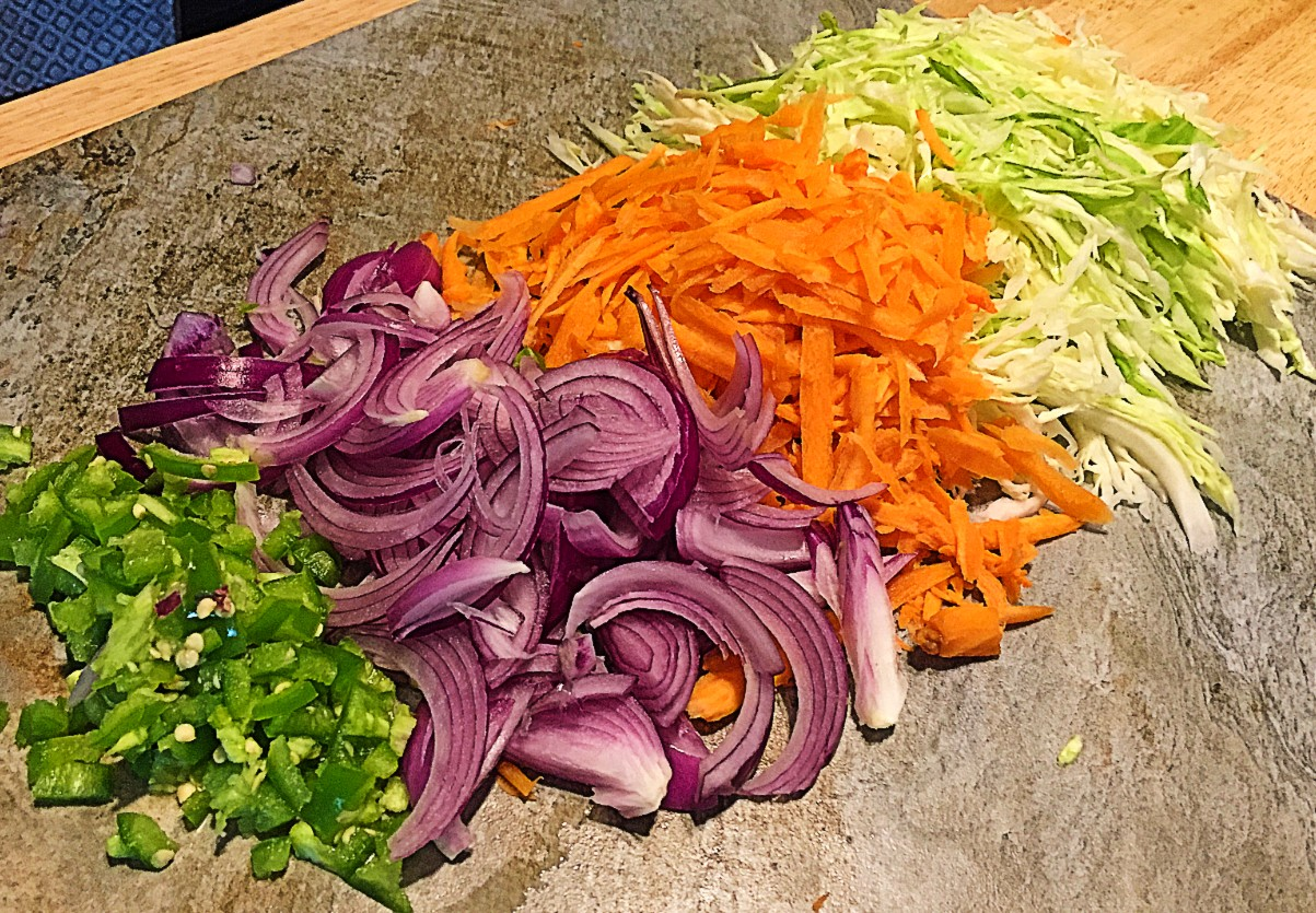 Vegetables for Curtido, sliced and diced