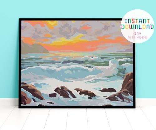 Vintage Seaside Paint by Number Art