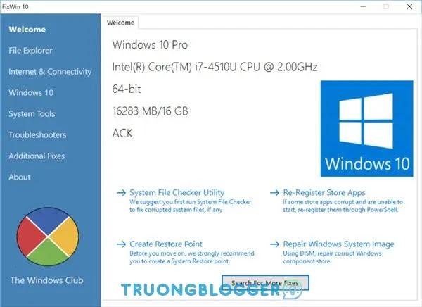 Sửa lỗi Windows 10 chỉ bằng 1 Click chuột với FixWin