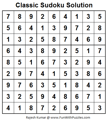 Classic Sudoku (Fun With Sudoku #25)  Solution