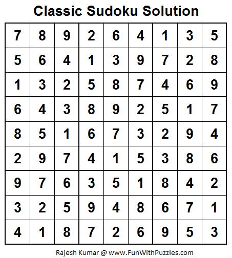 Classic Sudoku (Fun With Sudoku #25)  Solution