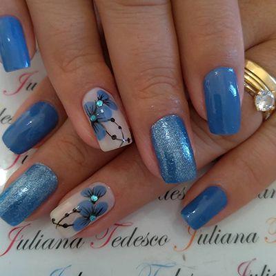 unhas azuis lindas