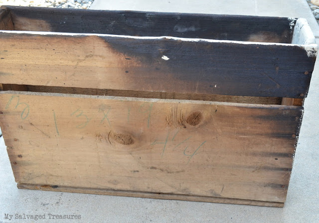 how to upcycle an old burned box with paint, hardware, and a stencil