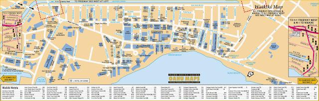 Mapa da Praia Waikiki - Honolulu - Havaí
