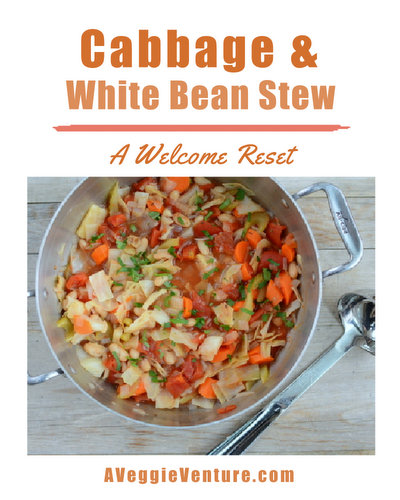 Cabbage & White Bean Stew, another easy, healthy vegetable soup ♥ AVeggieVenture.com. Very Weight Watchers Friendly. Vegan. Gluten Free.