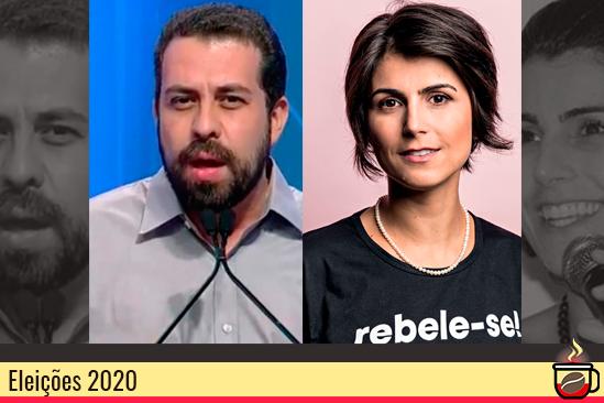 Guilherme Boulos (PSOL) e Manuela D'Ávila (PCdoB). Café com Jornalista