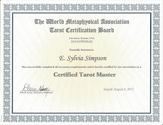 World Metaphysical Association Certified Tarot Master Certificate