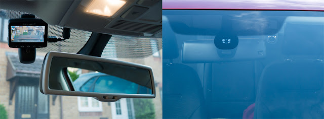 inside and outside view of the dash cam showing how discrete it is