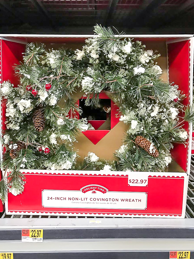 flocked Christmas Wreath from Walmart