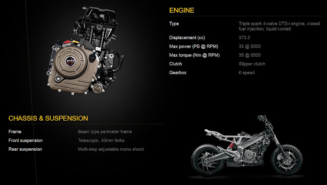 Engine Specs of Bajaj Dominar 400 Bike India