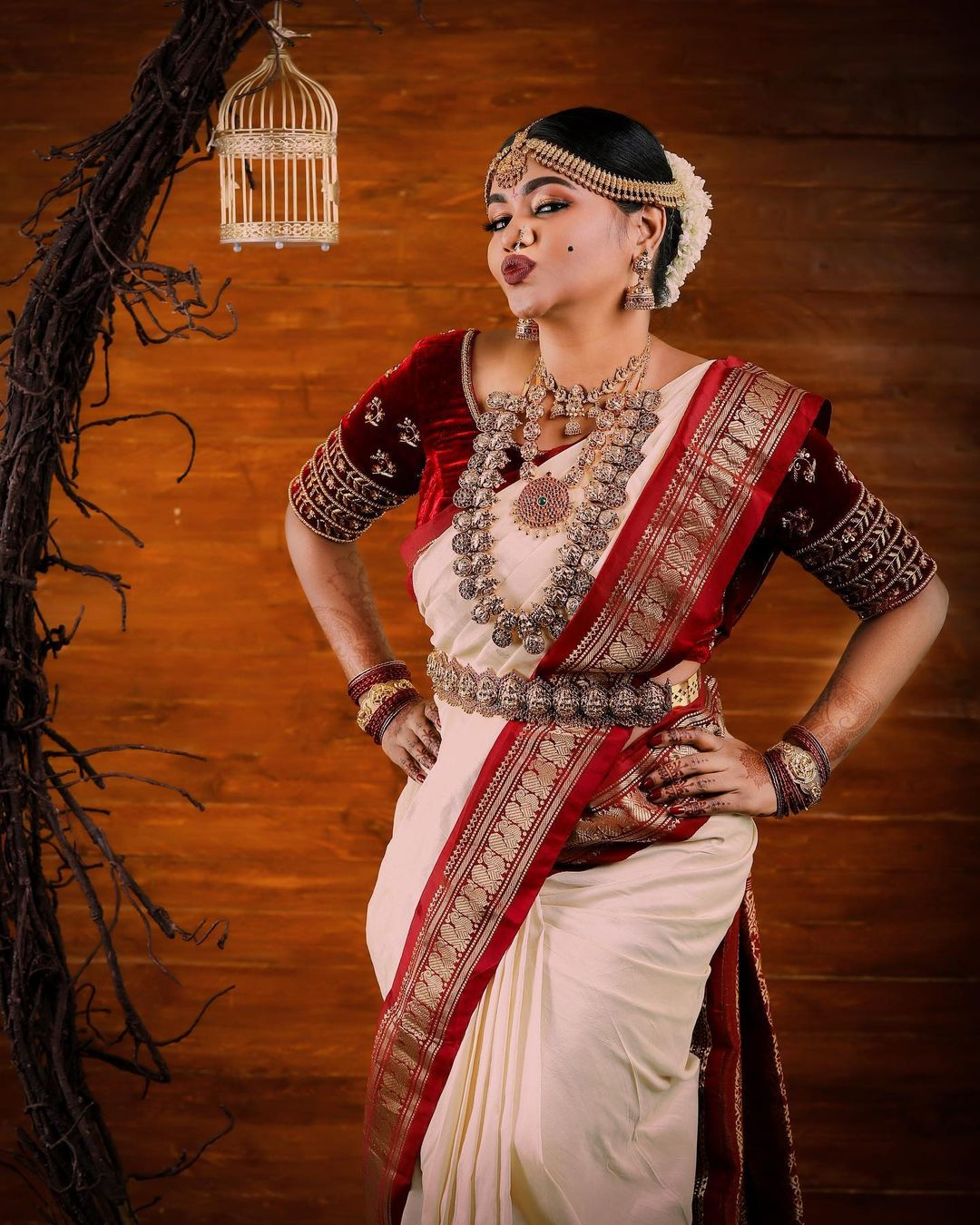 South Indian Actress Shalu Shammu Looking Beautiful in Telugu Bridal Saree