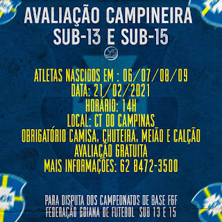 Campineira irá promover avaliação para sua equipe Sub-13 e Sub-15
