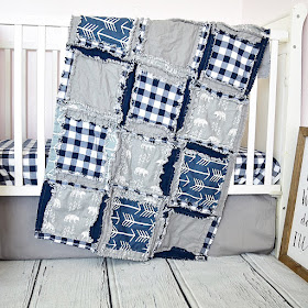 little bear crib set and rag quilt for baby boy nursery
