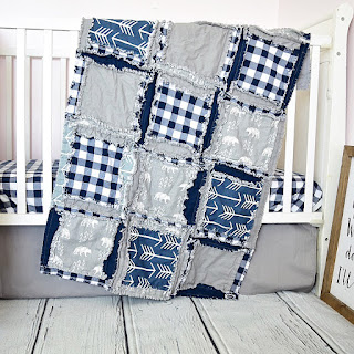 little bear crib set and rag quilt for baby boy nursery
