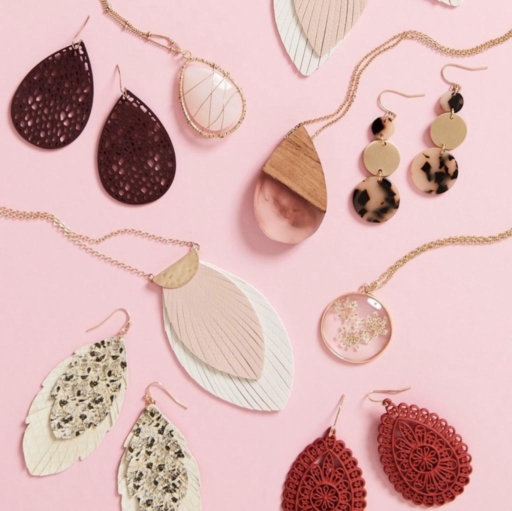 earrings on a table