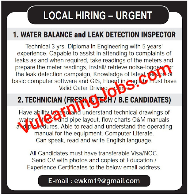 Urgent Required Jobs In Qatar 2020 For Inspector & Technician Latest