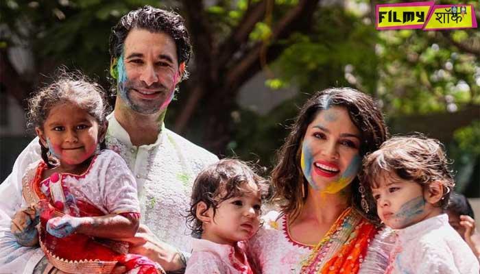 सनी लियोन पर भी चढ़ा होली का रंग, पति संग बच्चों के साथ मनाई होली