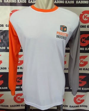Kaos Oblong Putih Kombinasi Abu Orange