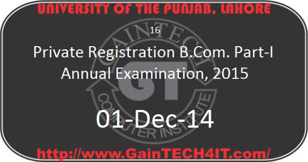 Punjab University B.com Part-I Annual 2015