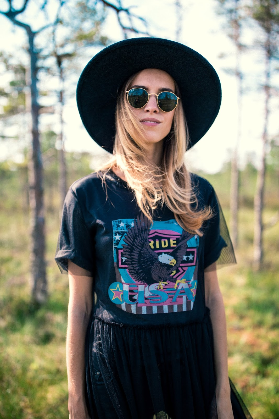 band tee mesh dress fedora hat outfit