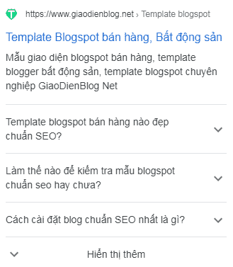 Câu hỏi thường gặp FAQPage cho blogspot