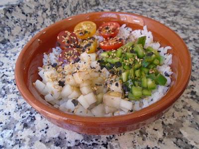 Ensalada de arroz con pimiento y melón